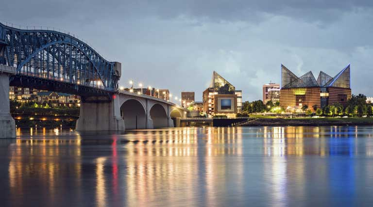 Chattanooga Waterfront Tennessee At Dusk