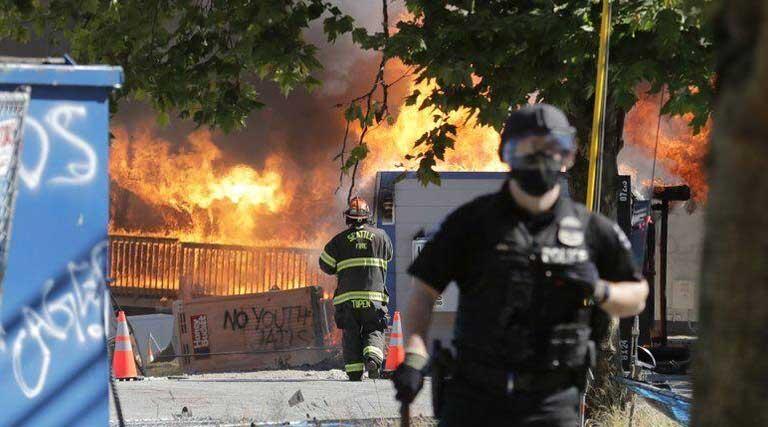 Construction Buildings Burning King County Juvenile Detention Center July 25, 2020 Seattle Protestors