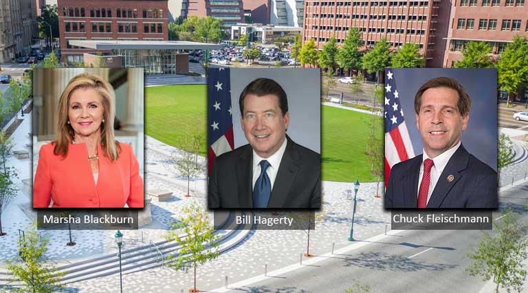Marsha Blackburn, Bill Hagerty, Chuck Fleischmann with Miller Park, Chattanooga in Background