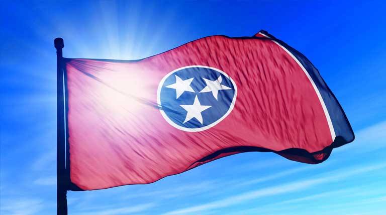 Sun Shines Behind Tennessee State Flag