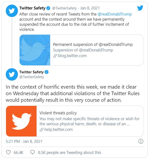 Twitter Safety - President Trump Account Banned