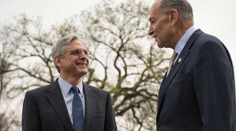 US Senator Chuck Schumer meets with US Supreme Court nominee Merrick Garland at United States Capitol