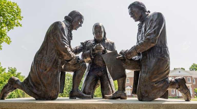 Founding Fathers_Bronze Statue_ John Adams_Benjamin Frankin_Thomas Jefferson_praying_Freedoms Foundation_Valley Forge_Pennsylvania