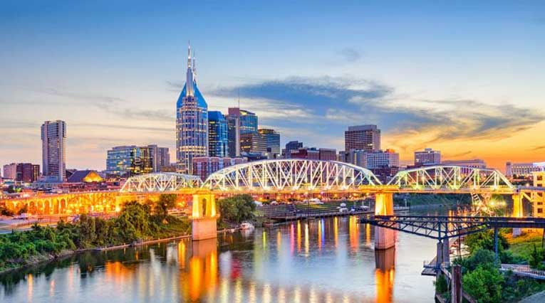 Downtown Nashville Tennessee Twilight Morning