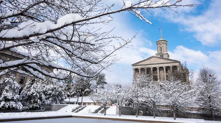 Tennessee_Capitol Building_Snow_Nashville