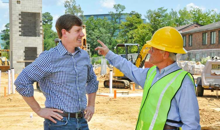 Senator Brian Kelsey with a Construction Worker in Nashville, Tennessee.