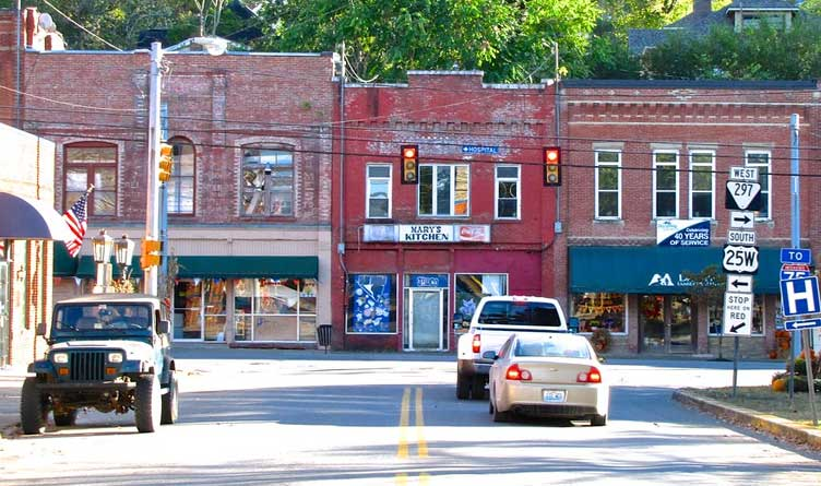 Buildings at the intersection of the North Main and South Main Streets in Jellico, Tennessee.
