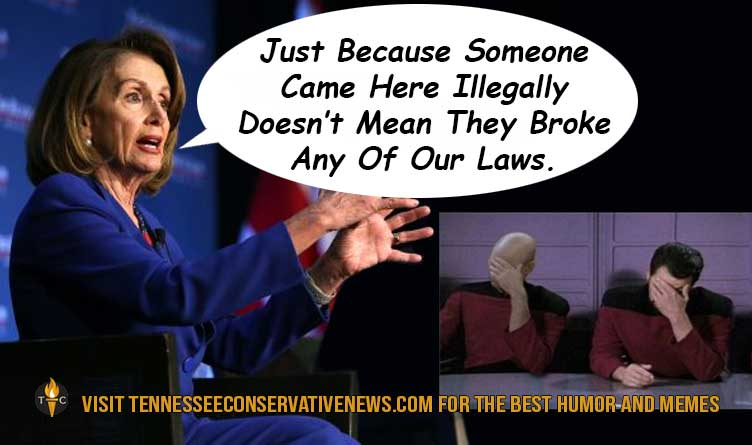 Just Because Some Came Here Illegally_Nancy Pelosi_Riker Picard Facepalm_Meme