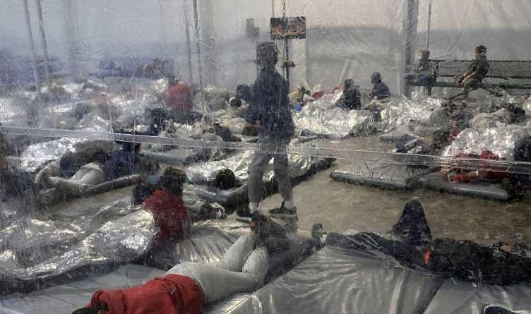 Mexican Migrant Children Sleeping on Concrete Floor