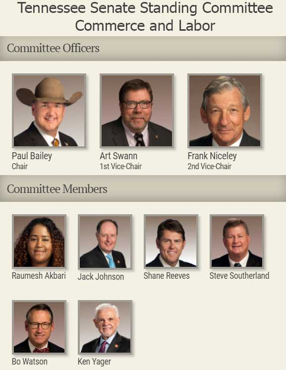 Tennessee Senate Standing Committee Commerce and Labor