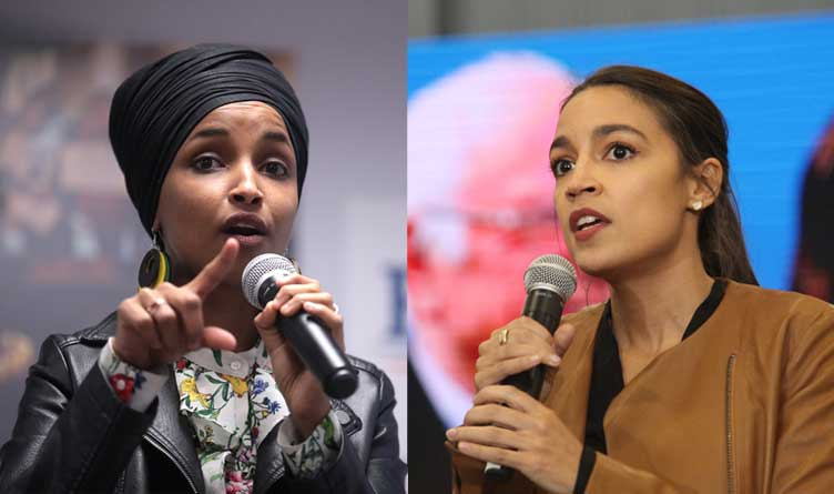 US Representatives Ilhan Omar (D-MN) and Alexandria Ocasio-Cortez (D-NY)