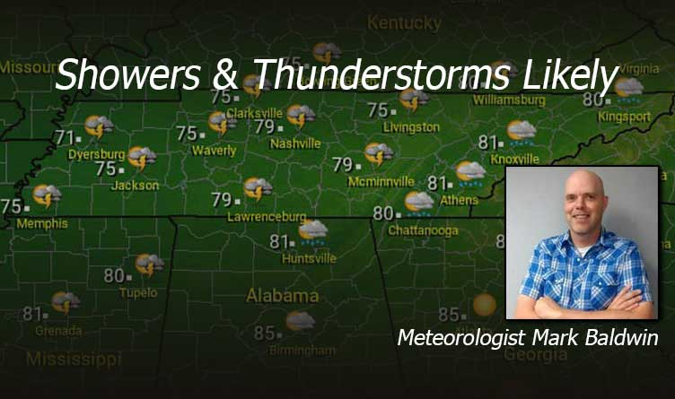 Showers & Thunderstorms in Tennessee.