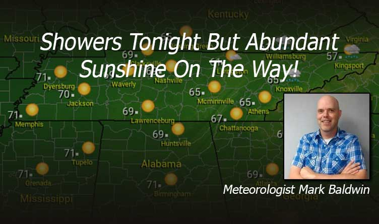 Showers Tonight But Abundant Sunshine Tomorrow - Your Tennessee Weather Forecast For Thursday & Friday Featuring Meteorologist Mark Baldwin From Crossville!