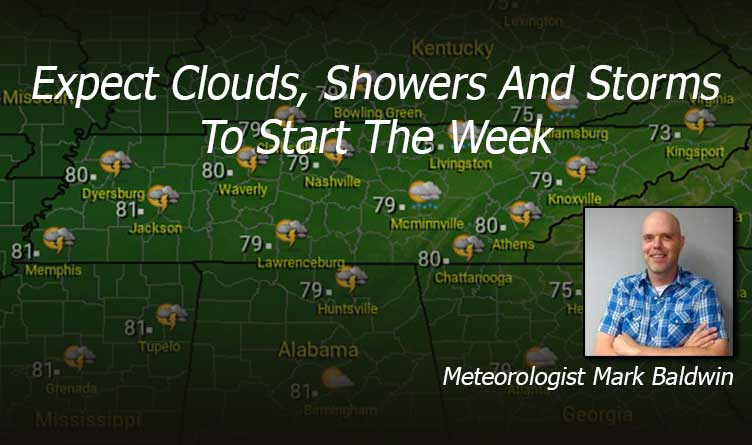 Expect Clouds, Showers And Storms To Start The Week