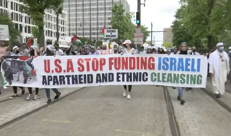 Palestinian Supporters March in Downtown Memphis