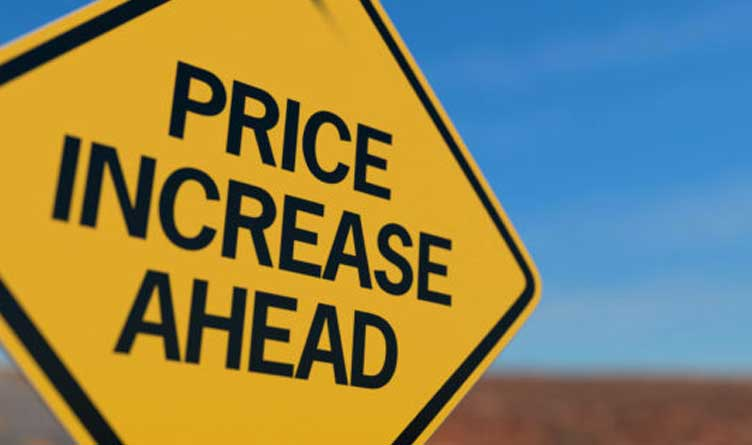 Price Increase Ahead Road Sign