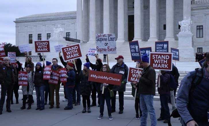 Protesters outside of the U.S. Supreme Court during the oral arguments for Janus vs. AFSCME, Feb. 26, 2018.