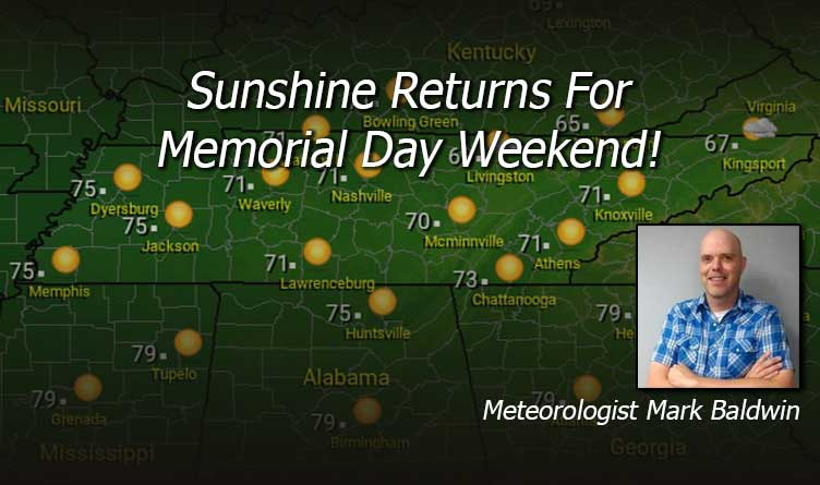 Sunshine Returns For Memorial Day Weekend - Tennessee Weather Forecast