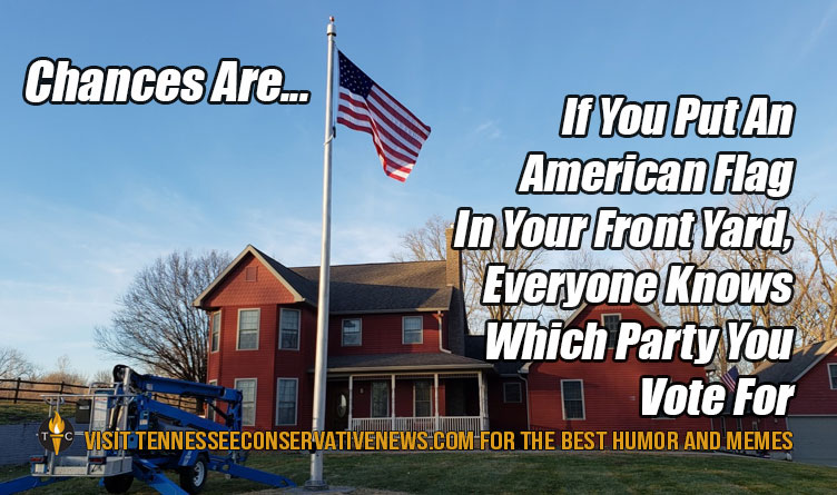 Chances Are If You Put An American Flag In Your Front Yard, Everyone Knows Which Party You Vote For Meme