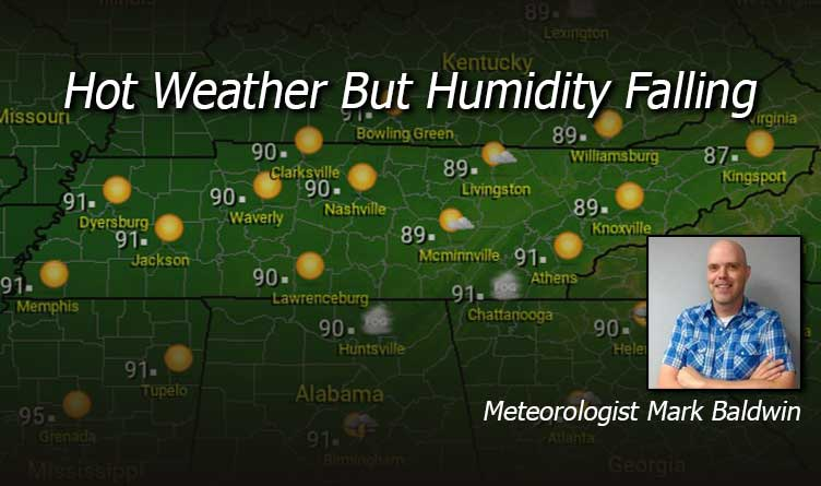 Hot Weather But Humidity Falling - Your Tennessee Weather Forecast For Monday & Tuesday With Meteorologist Mark Baldwin From Crossville!