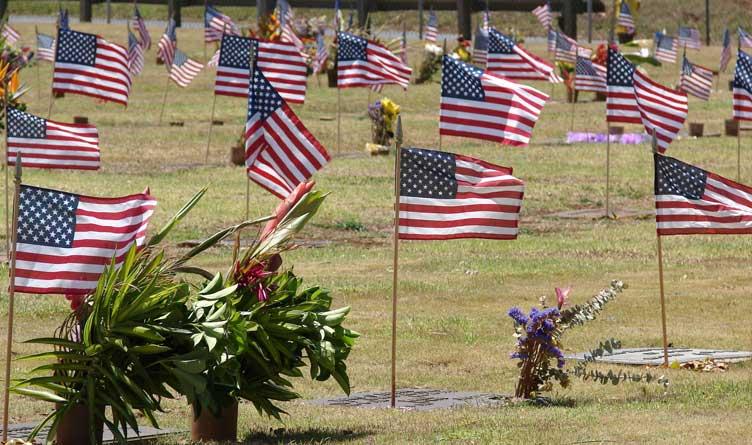 Memorial Day decorations at Maui Veterans Cemetery Makawao, Maui, Hawaii.