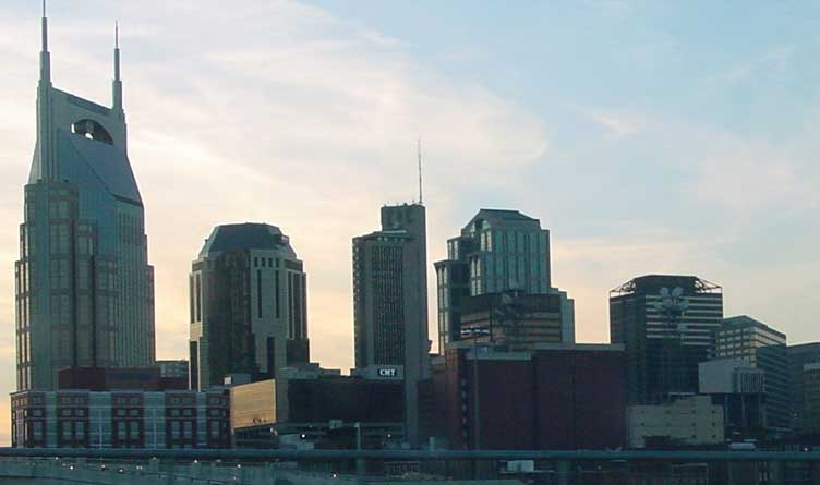 The skyline of Nashville, Tennessee at dusk. Photographed from the Gateway Bridge.