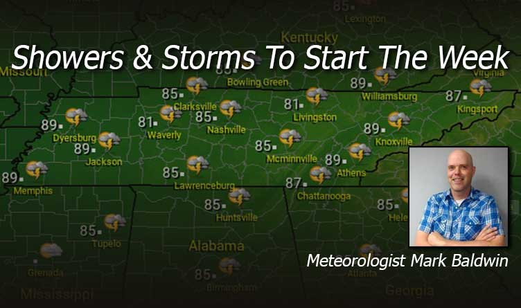 Showers & Storms To Start The Week In Tennessee