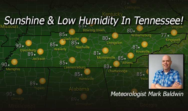 Sunshine & Low Humidity In Tennessee! - Your Tennessee Weather Forecast For Wednesday & Thursday With Meteorologist Mark Baldwin From Crossville!