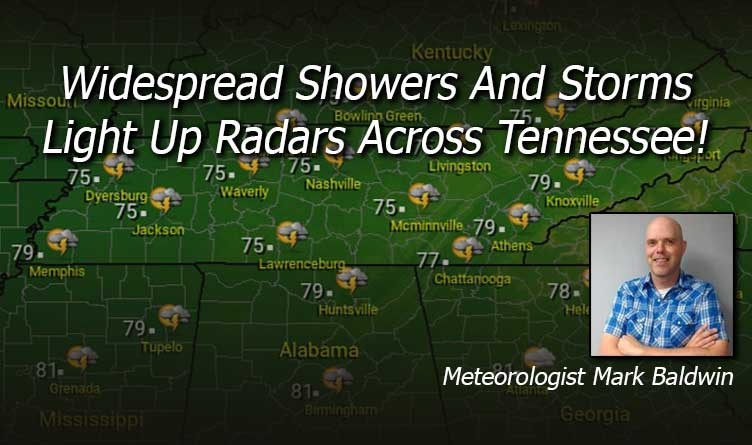Widespread Showers And Storms Light Up Radars Across Tennessee!