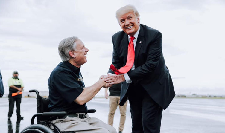 Donald J. Trump with Governor Greg Abbott in the Rio Grande Valley for a border security briefing and a tour of the unfinished border wall.