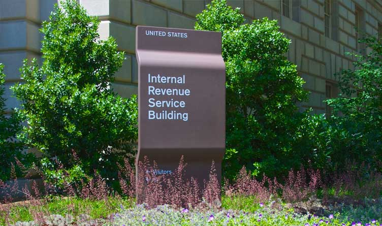 Sign marking the building of the Internal Revenue Service in Washington D.C.