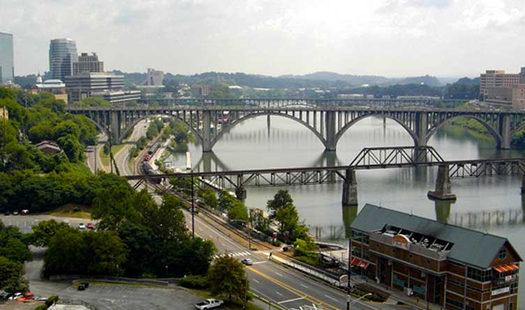 Knoxville, TN, as seen from the top edge of Neyland Stadium