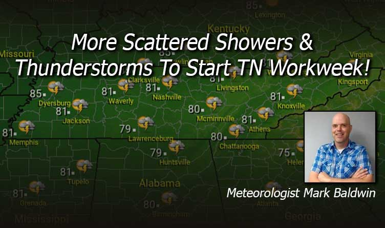 More Scattered Showers & Thunderstorms to Start TN Workweek!