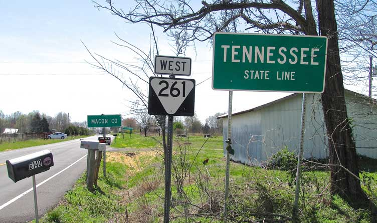 Tennessee State Route 261 at the Tennessee-Kentucky state line in Macon County, Tennessee