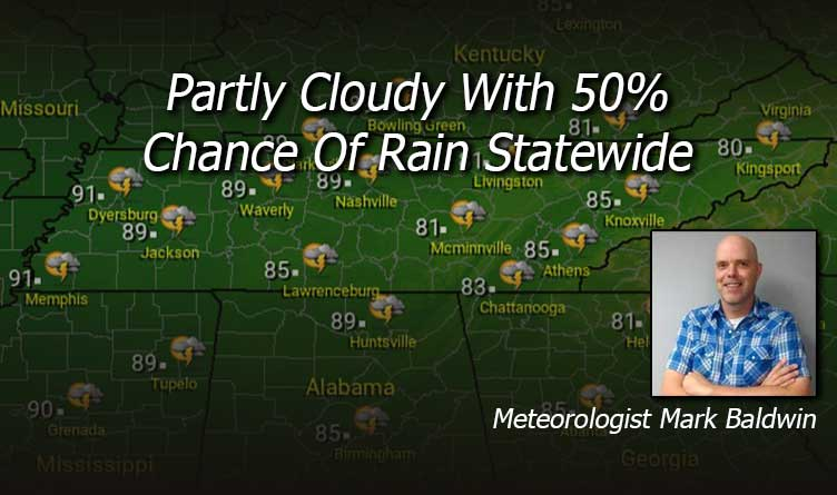 Partly Cloudy With 50% Chance Of Rain Statewide - Your Tennessee Weather Forecast For Thursday & Friday With Meteorologist Mark Baldwin From Crossville!