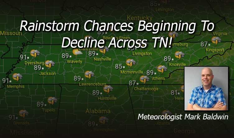 Rainstorm Chances Beginning To Decline Across TN!