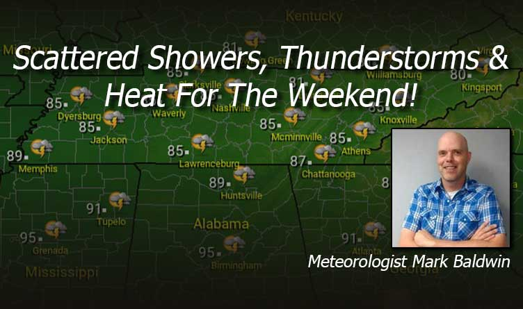 Scattered Showers, Thunderstorms & Heat For The Weekend!