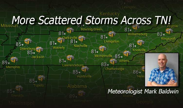 More Scattered Storms Across Tennessee!
