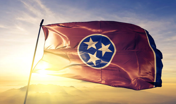 Tennessee State Flag Mountains Sunrise Sunset