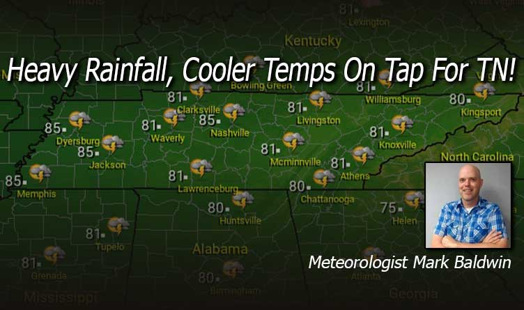 Heavy Rainfall, Cooler Temps On Tap For TN!