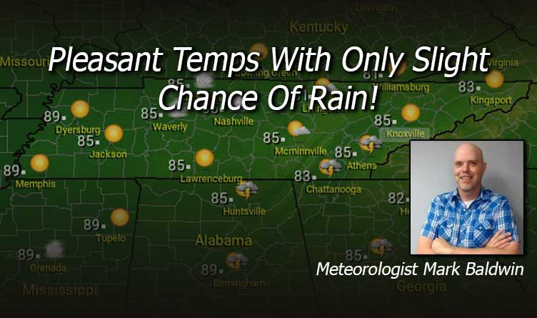 Pleasant Temps With Only Slight Chance Of Rain!