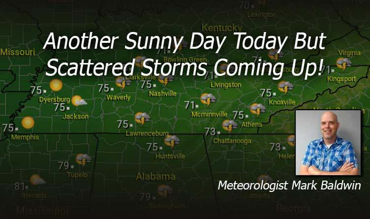 Another Sunny Day Today But Scattered Storms Coming Up!