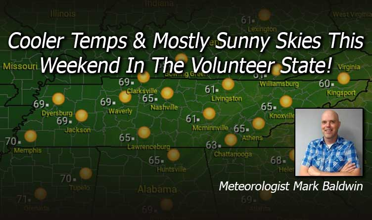 Cooler Temps & Mostly Sunny Skies This Weekend In The Volunteer State! - Your Tennessee Weather Forecast For Friday & Through The Weekend With Meteorologist Mark Baldwin From Crossville!