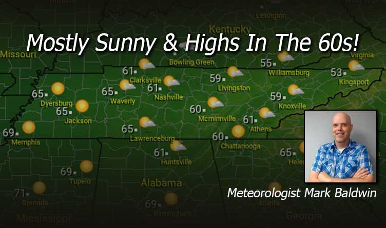 Mostly Sunny & Highs In The 60s!