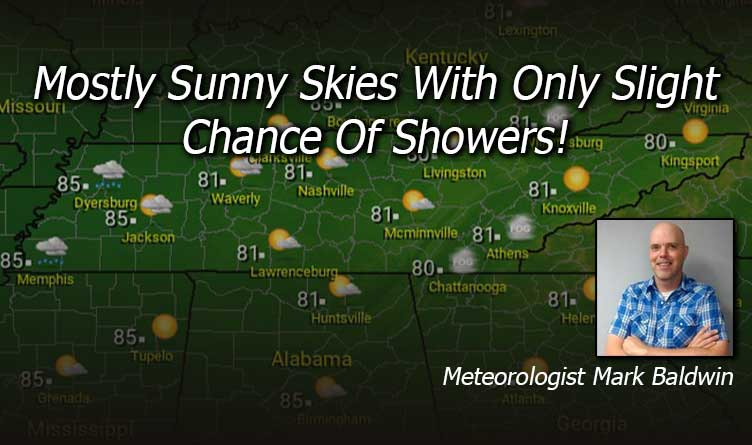 Mostly Sunny Skies With Only Slight Chance Of Showers!