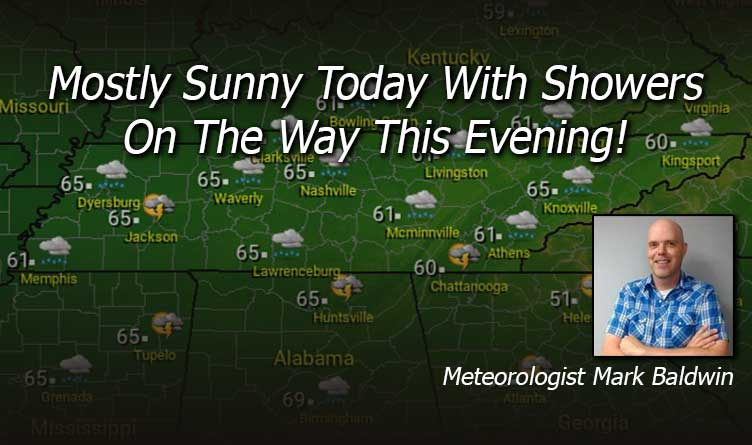 Mostly Sunny Today With Showers On The Way This Evening!