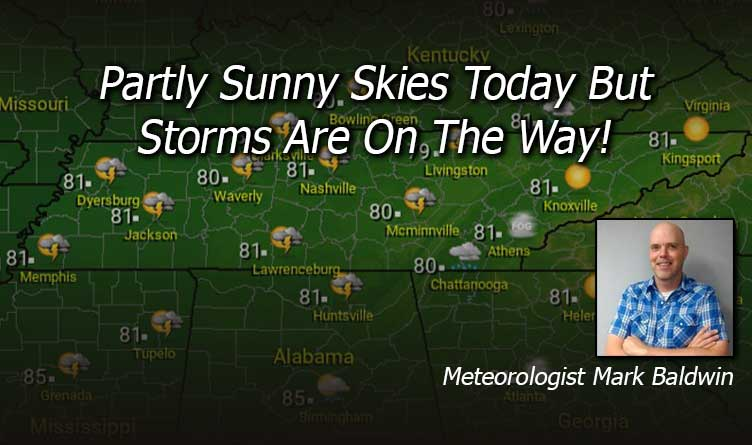 Partly Sunny Skies Today But Storms Are On The Way!
