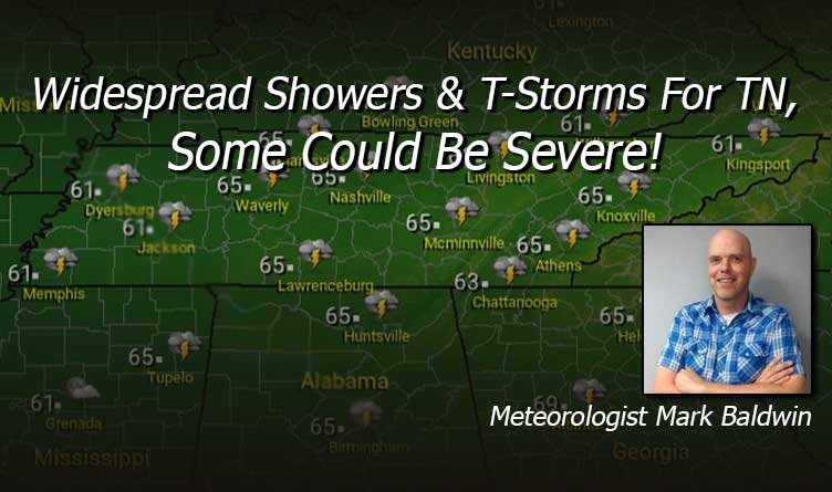 Widespread Showers & T-Storms For TN, Some Could Be Severe!